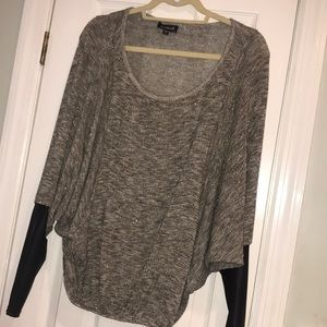 Bebe Flowy Sweater with faux leather sleeves